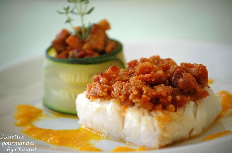 Gut gemocht Cabillaud en crumble de chorizo, petite fondue d'aubergine | SY03
