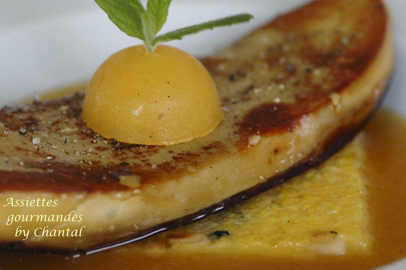 foie gras po l abricots et polenta recette de sophie bise. Black Bedroom Furniture Sets. Home Design Ideas