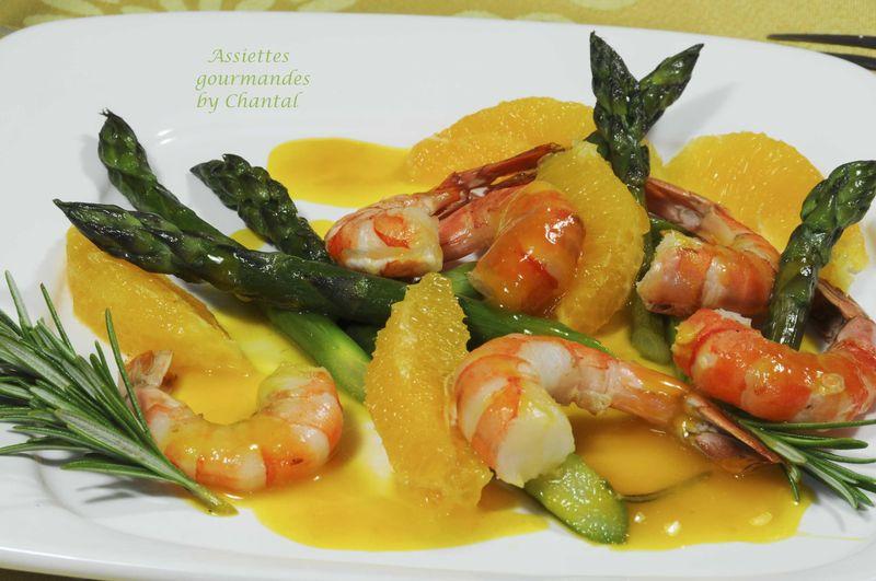 Fricass e d 39 asperges vertes aux crevettes caramel l 39 orange - Asperge a la poele ...