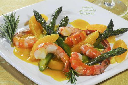 Fricass e d 39 asperges vertes aux crevettes caramel l 39 orange - Comment presenter des crevettes en entree ...