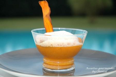 Emulsion au lait de crevettes sur son lit carottes cumin - Comment faire de la cuisine moleculaire ...