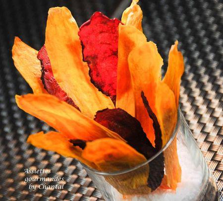 chips de patate douce et betterave au micro ondes