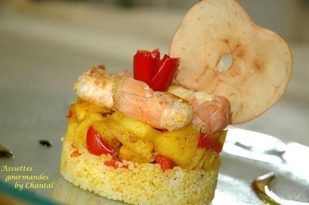 Langoustines sur sa compot e de pommes poivrons au raz el for Entree original et simple