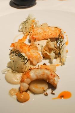 Langoustines rôties et en tartare, fenouil, mandes torréfiées (1)