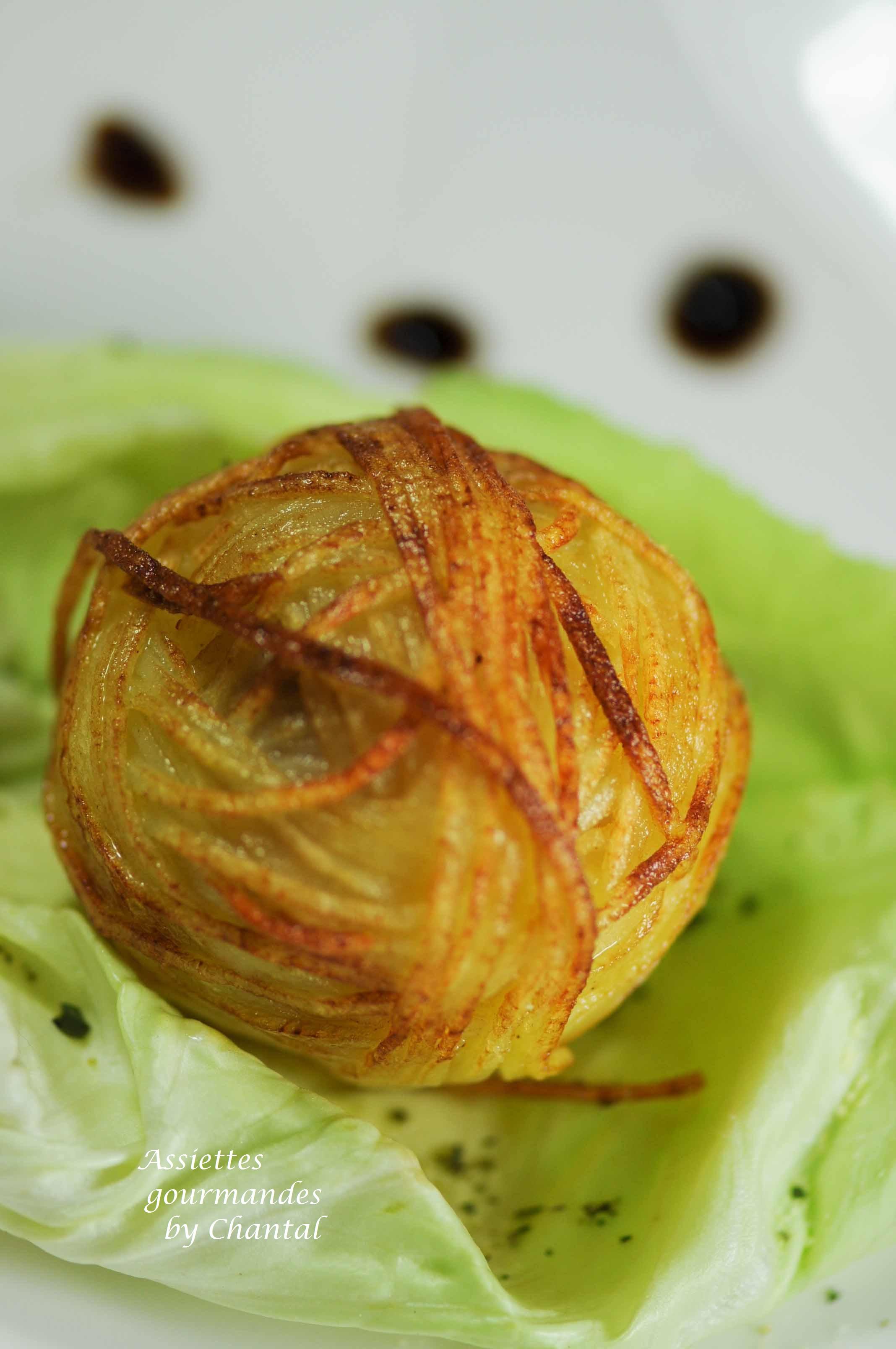 mache aux foie gras aux crevettes et aux pommes