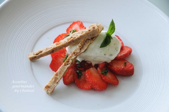sorbet citron basilic - glace - tartare de fraises