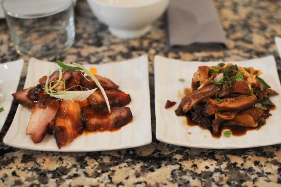 Porc Tsasui caramélisé au poivre de Sechouan, Poulet Lao Seg