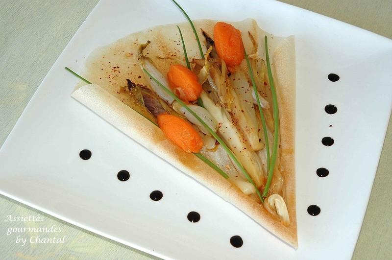Bouquet de tulipes glacées carottes-gingembre, feuilles de chicons caramélisées à l'orange pour Blog-Appétit#10