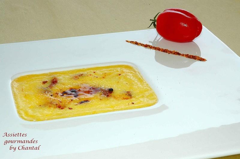 Crème brûlée aux tomates confites et au sirop d'anis