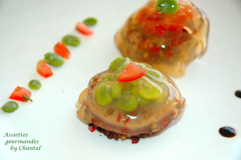 Transparence de thon mi-cuit, fèves et tomates (inspirée d'Anne-Sophie Pic)