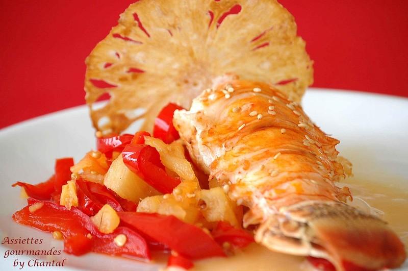 L'ananas s'invite chez le salé: langouste et son chutney ananas/poivrons
