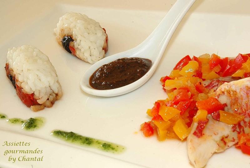 Sushi de rougets en émulsion d'olives noires (recette de Michel Trama, de l'Aubergade à Puymirol)