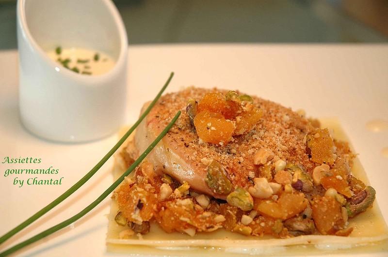 Gratin de foie gras poêlé en crumble de fruits secs