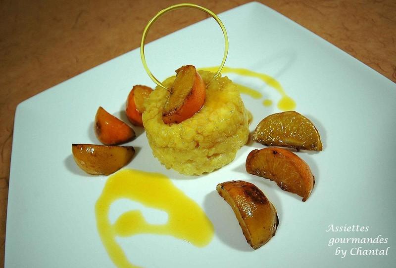 Riz au lait, sauce à l'orange et mandarines confites