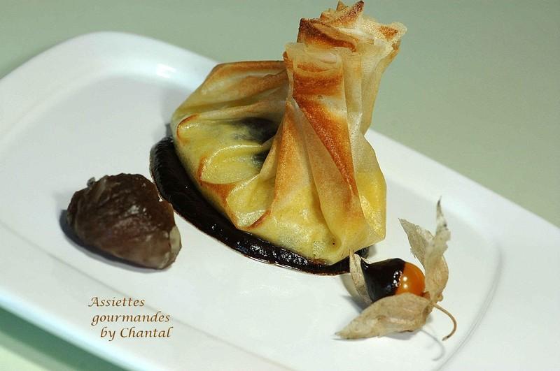 Aumônières aux marrons glacés et à la crème frangipane