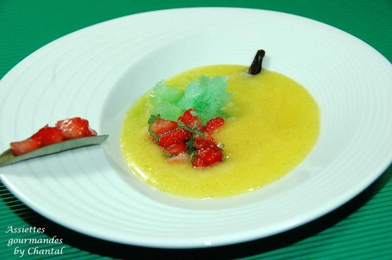 Gaspacho d'ananas, granité de menthe et tartare de fraises... inspiré des Frères Pourcel