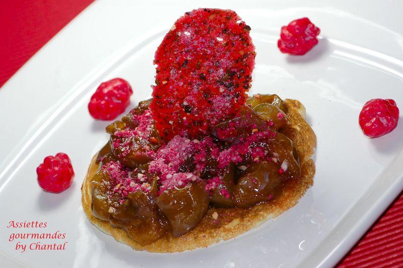 Blinis aux mirabelles et aux pralines roses