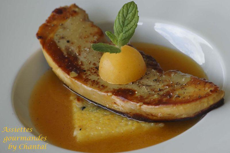 Foie gras poêlé, abricots et polenta (recette de Sophie Bise)