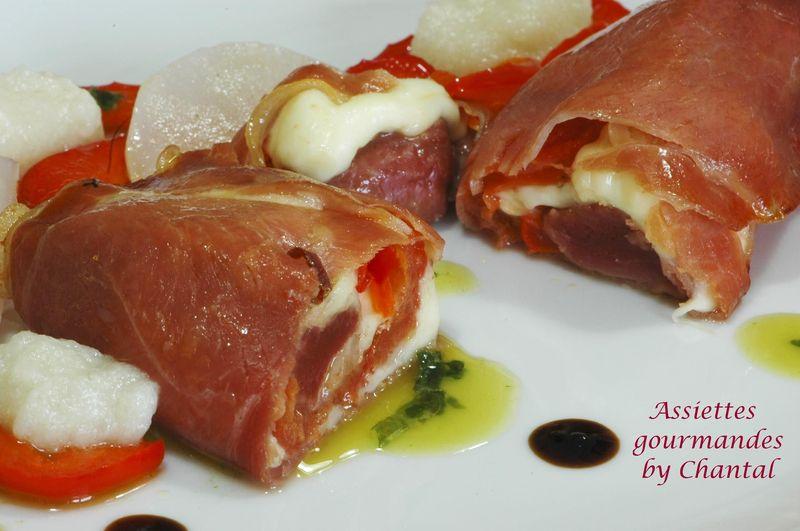 Saltimbocca de canard, purée de topinambour et huile de basilic