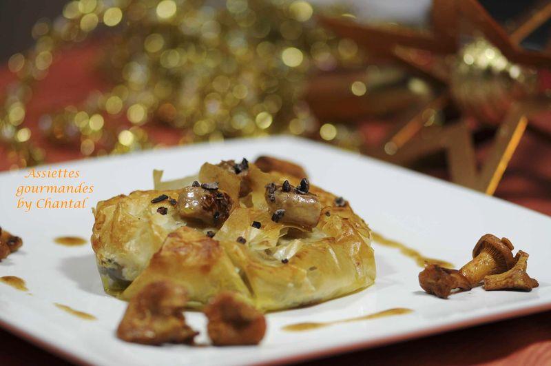 Croustade foie gras, châtaignes et grué de cacao pour une entrée de fêtes!