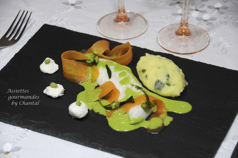 Filets de poisson au beurre de cresson, purée aux algues wakamé