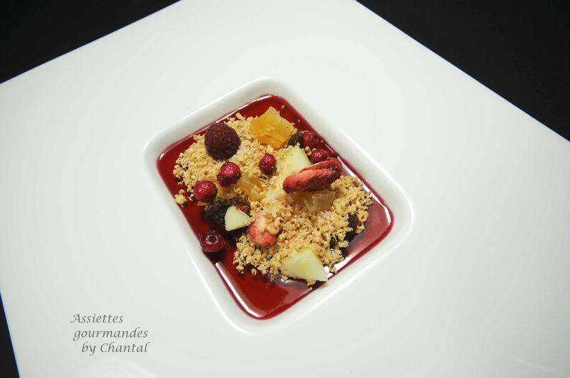 Muesli de foie gras, gelée d'hibiscus