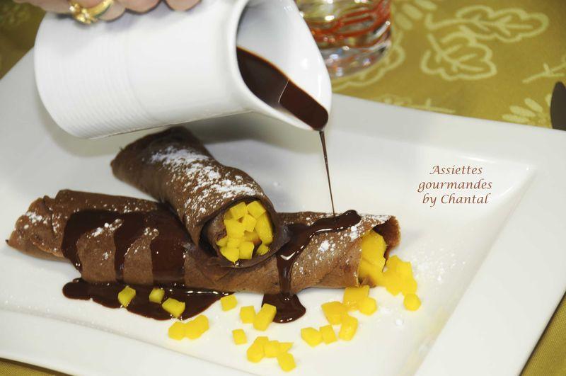 Crêpes au chocolat, compotée de mangue