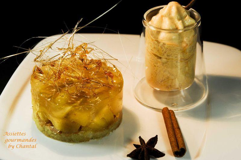 Dacquoise, ananas et espuma caramel rhum pour un dessert gourmand