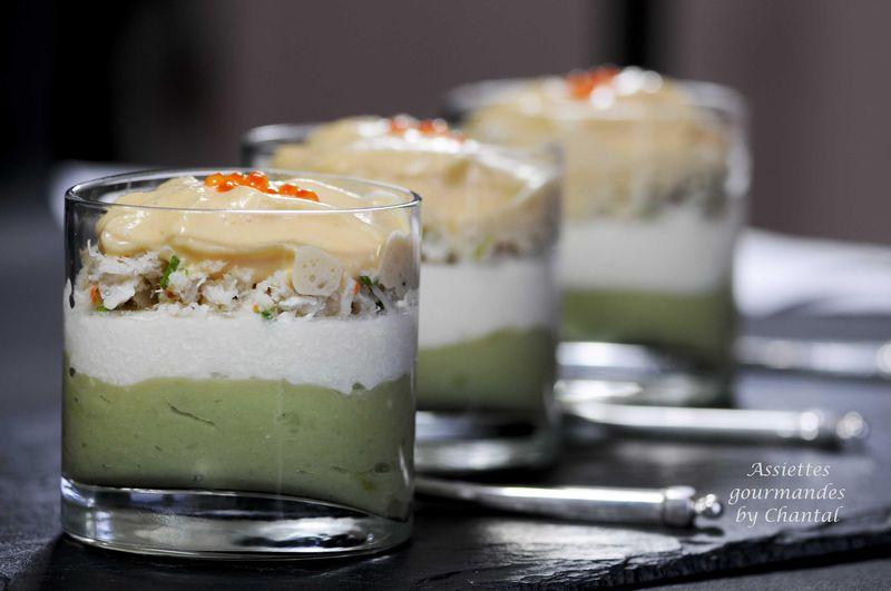 Crème de chou-fleur aux crustacés, pommes vertes et avocats... version Long drink ou amuse bouche