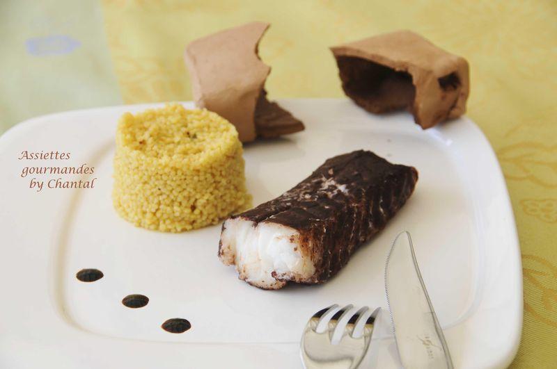 Dos de cabillaud au cacao cuit en croûte d'argile