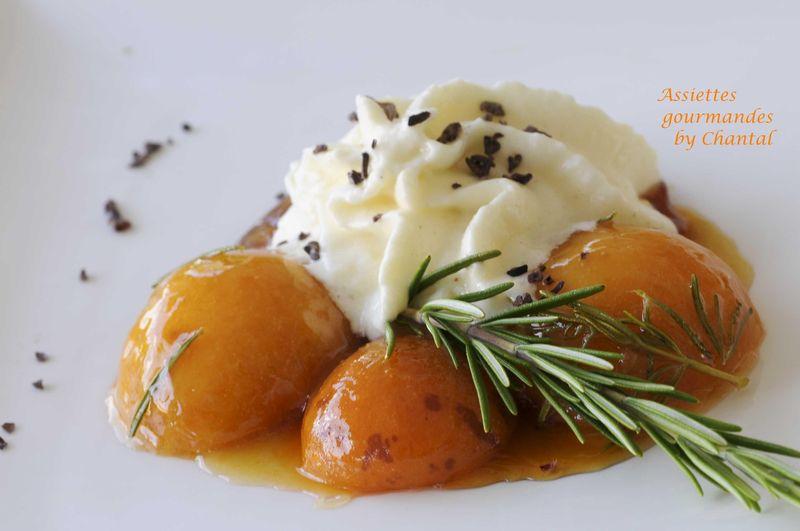 Abricots caramélisés et émulsion au riz au lait
