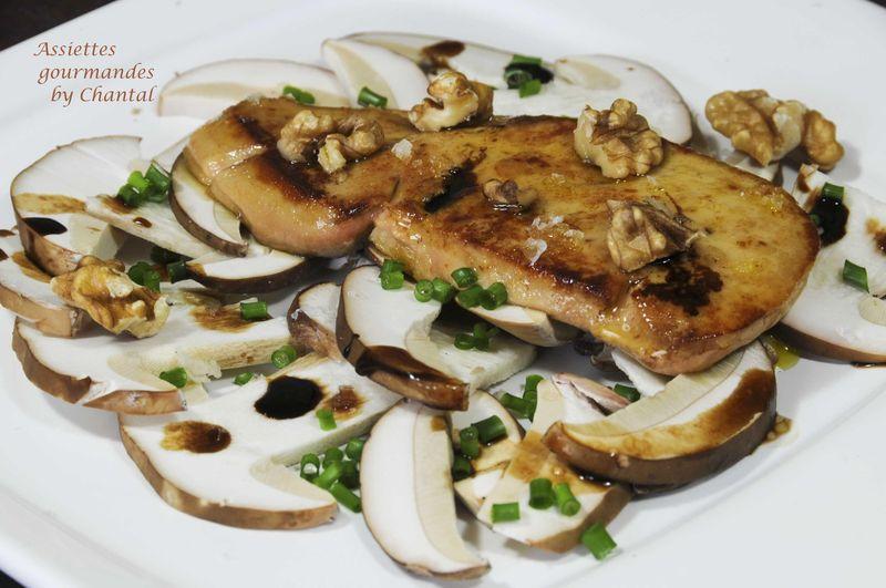 Carpaccio de cèpes et foie gras poêlé