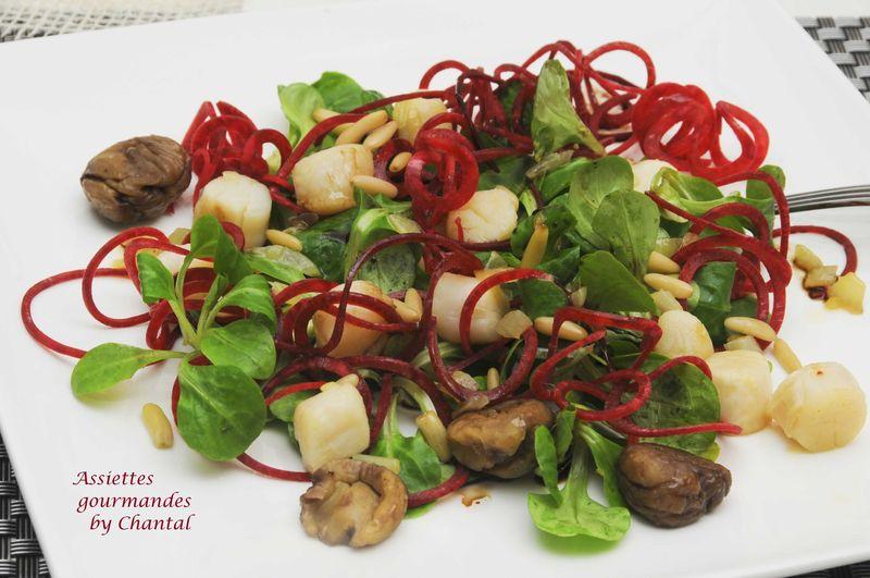 Salade de mâche et pétoncles aux marrons