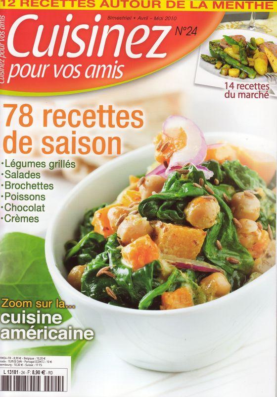 """Recettes d'Assiettes Gourmandes dans le magazine """"Cuisinez pour vos amis"""" avril/mai 2010"""