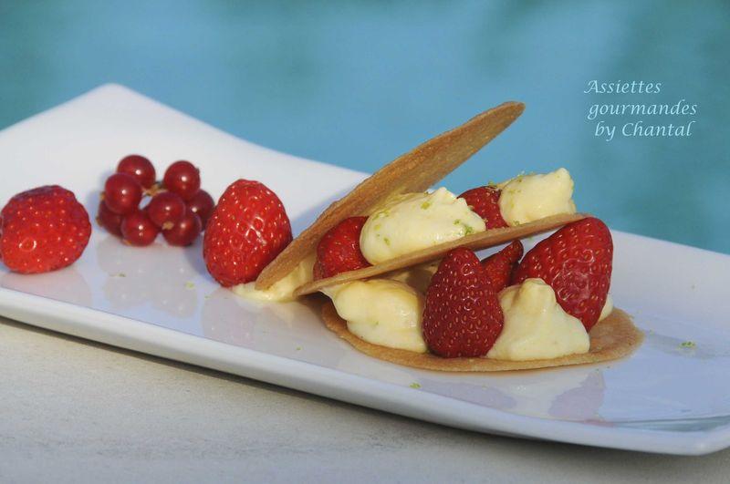 Millefeuille de fraises, mousse au mascarpone