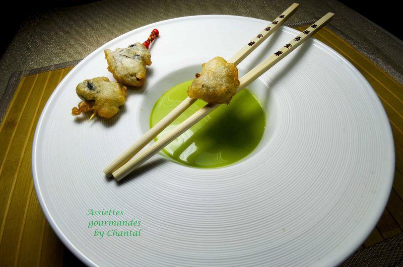 Huîtres en tempura, coulis de cresson, citron confit et gingembre
