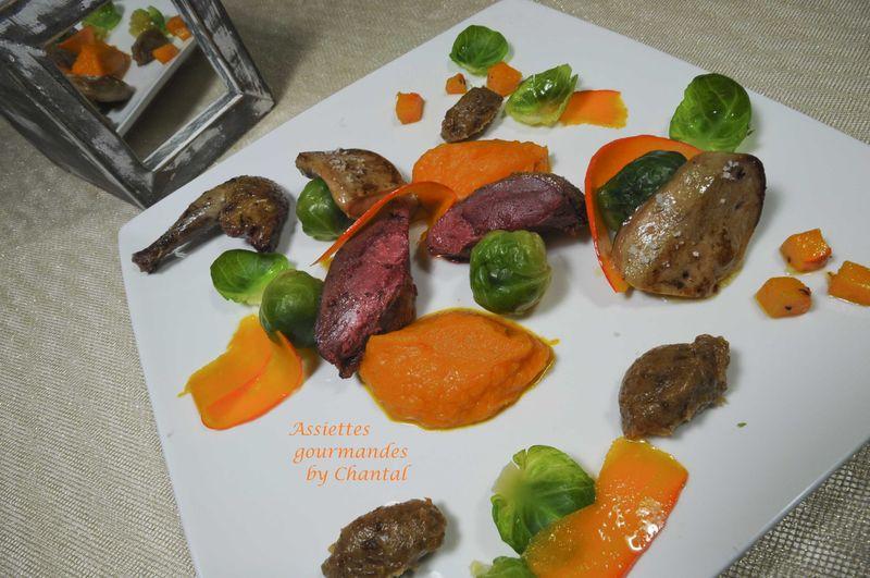 Pigeon, escalope de foie gras, potimarron au curry, condiment dattes/banane