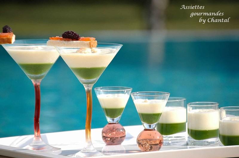 Crème Dubarry glacée au saumon fumé, gelée de persil et oeufs de lumps