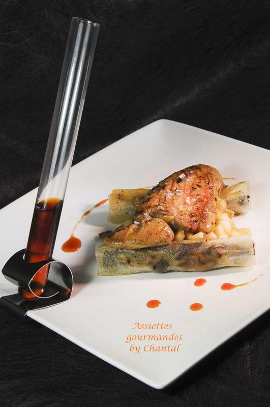 Recette de fête: Foie gras poêlé, nems de champignons, réduction de jus de pomme