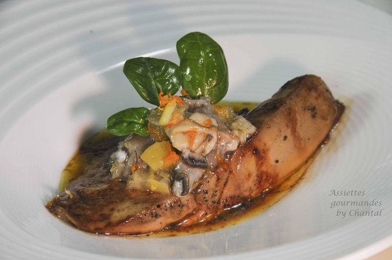 Foie gras laqué, tartare d'huîtres du bassin