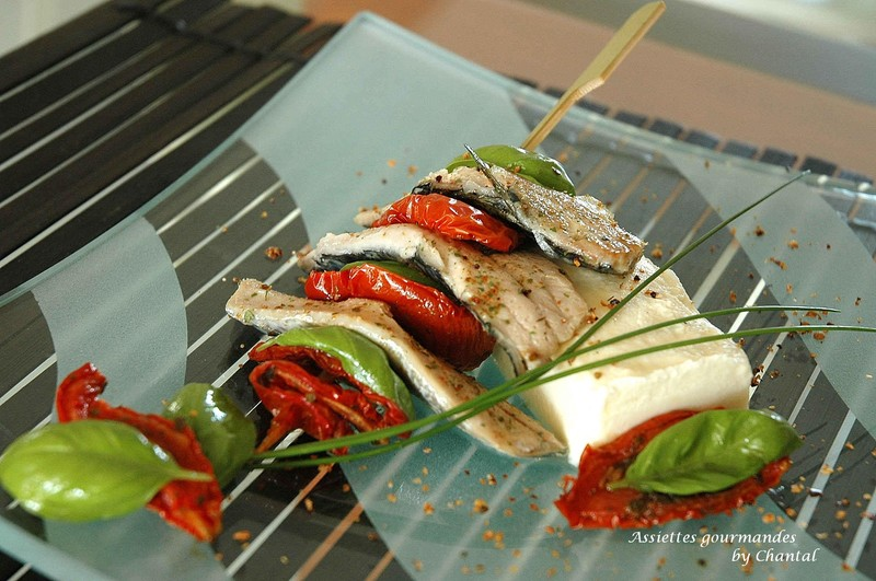 Filets de sardines et tomates confites sur mousse de céleri