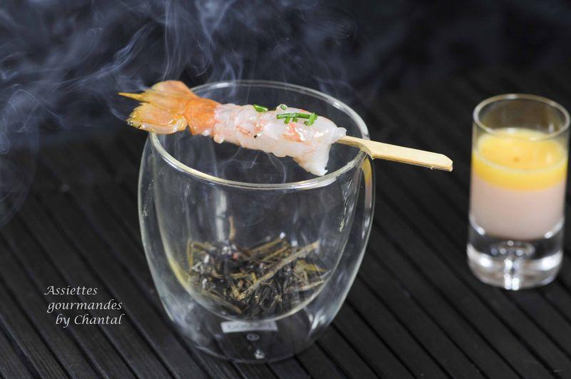 Langoustines fumées au romarin et son jus de carapaces , selon Jean-Luc Tartarin