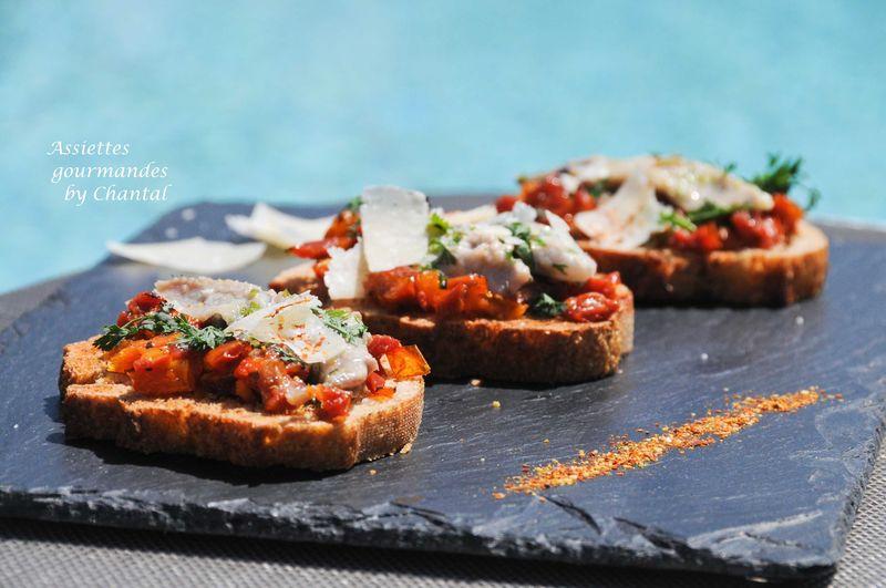 Tartines de sardines grillées au chalumeau