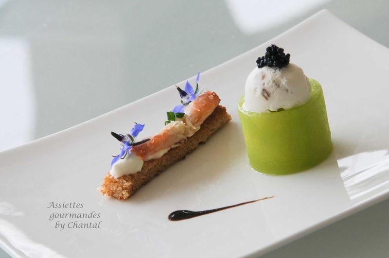 Concombre, huître en gelée de gingembre et crème acidulée et iodée (recette de Christophe Girardot)