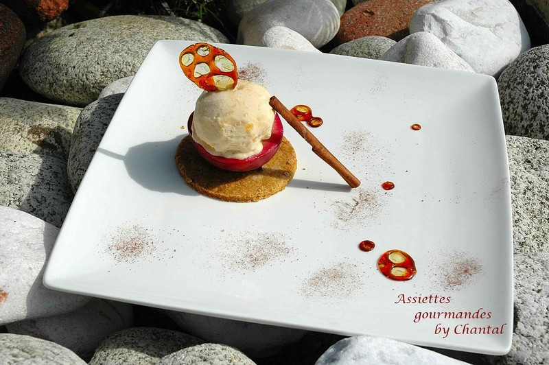 Nectavigne à la badiane, sur son sablé amande-pistache et glace gingembre