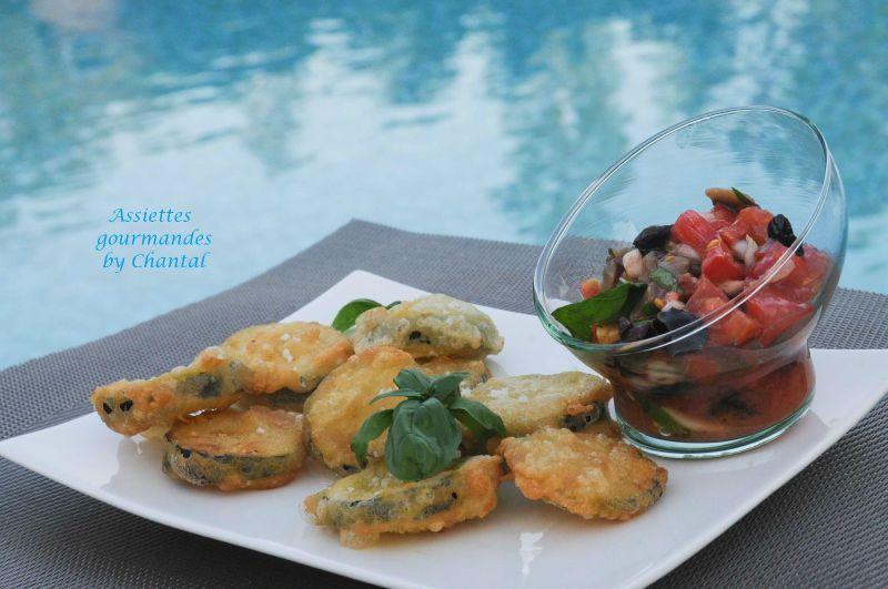 Tempura de courgette, sauce vierge tomate basilic