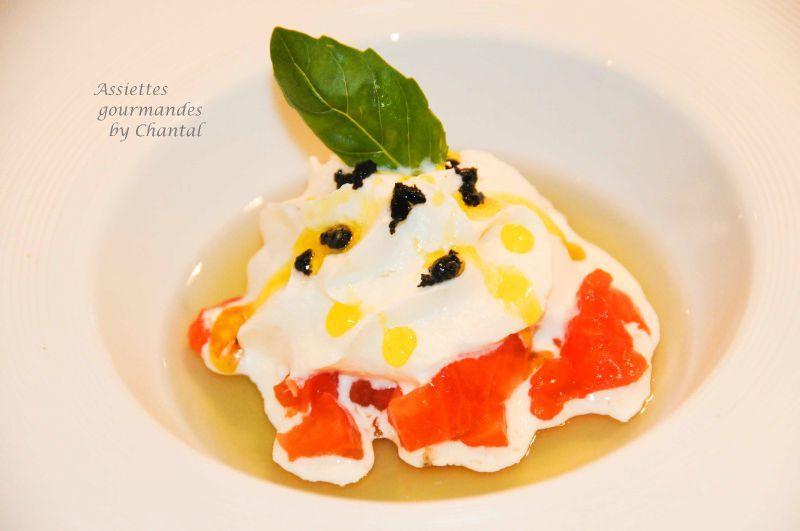 Tomates mozarella et basilic (recette Eric Fréchon)