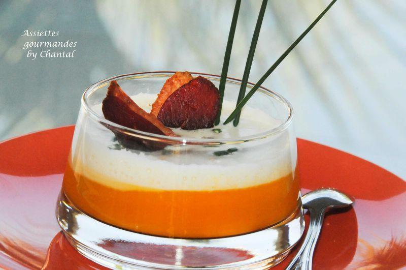Cappuccino de potimarron à l'orange, magret séché (recette de Christophe Girardot)