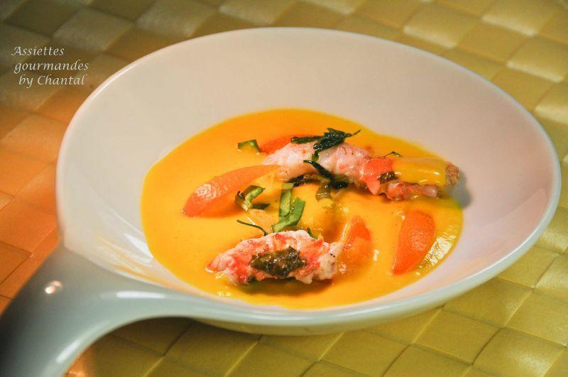 Bouillon de carottes citronnelle et langoustines (recette de William Ledeuil)