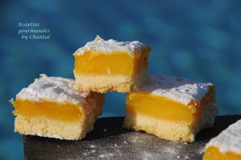 Carrés au citron sur biscuit sablé